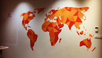 world map on office wall