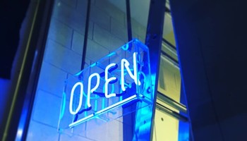 Blue Neon Open Sign