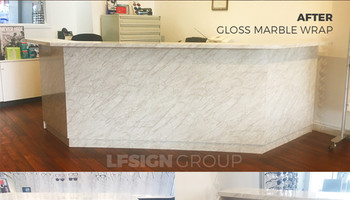 Retail Desk Refurbishing Marble Wrap